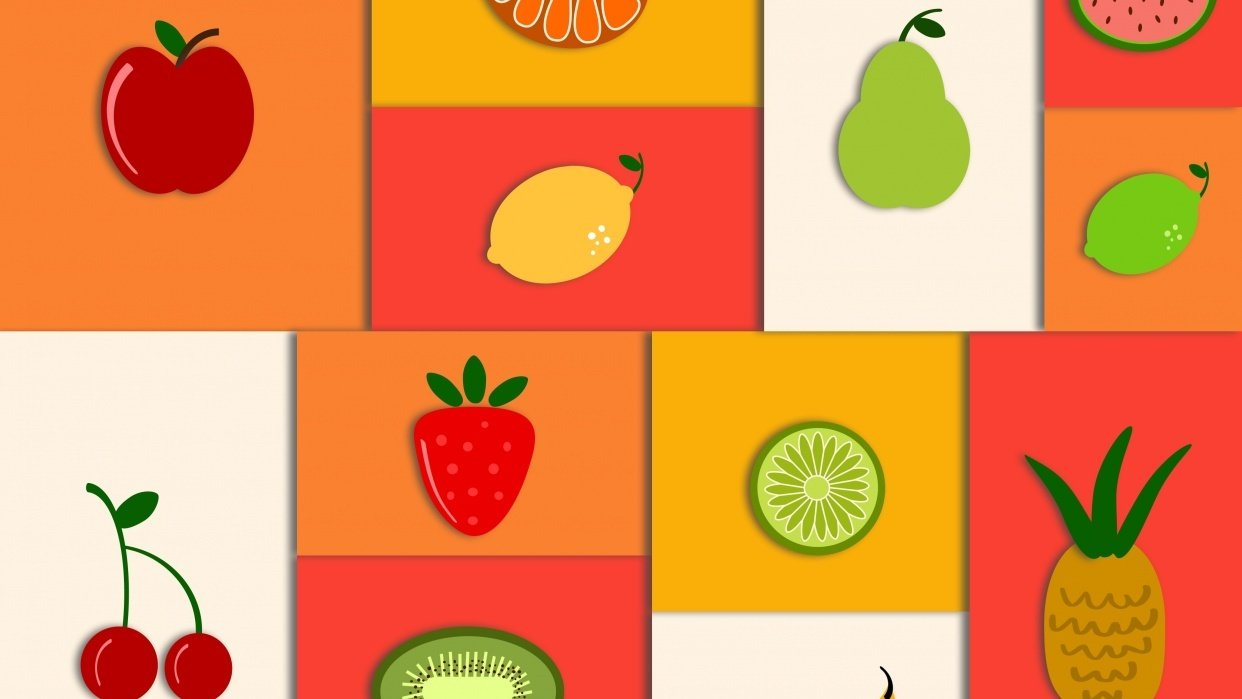 Simple Shapes Fruit Scene - student project