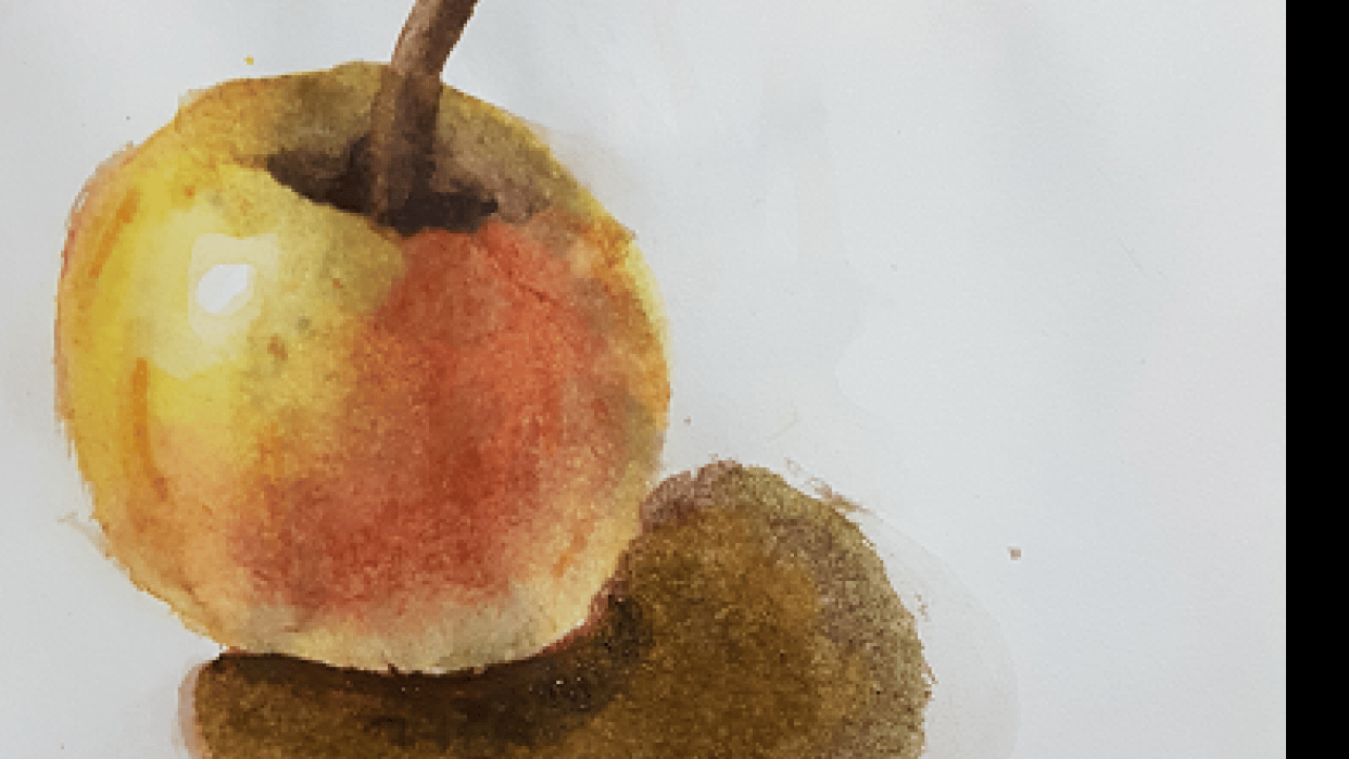 Watercolor apple - student project