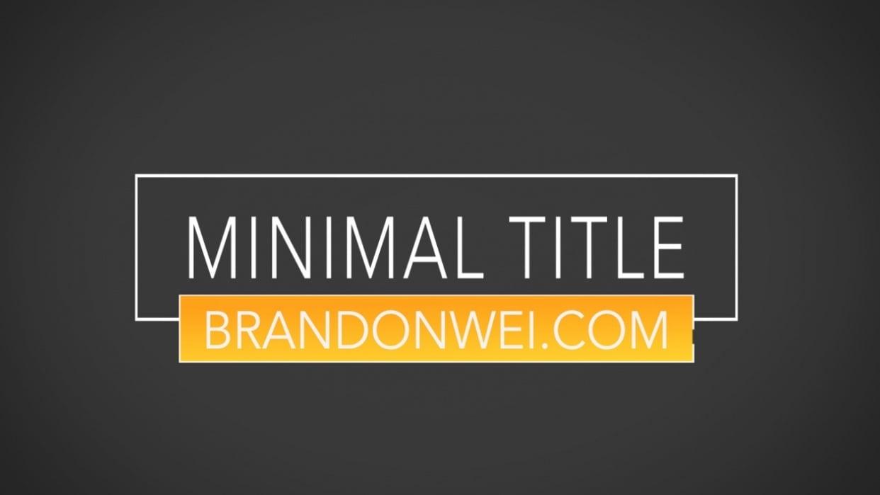 Minimalist Title Animation - student project