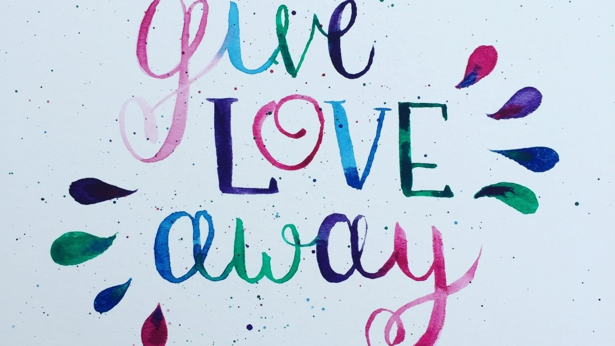 Multi-color brush lettering - student project