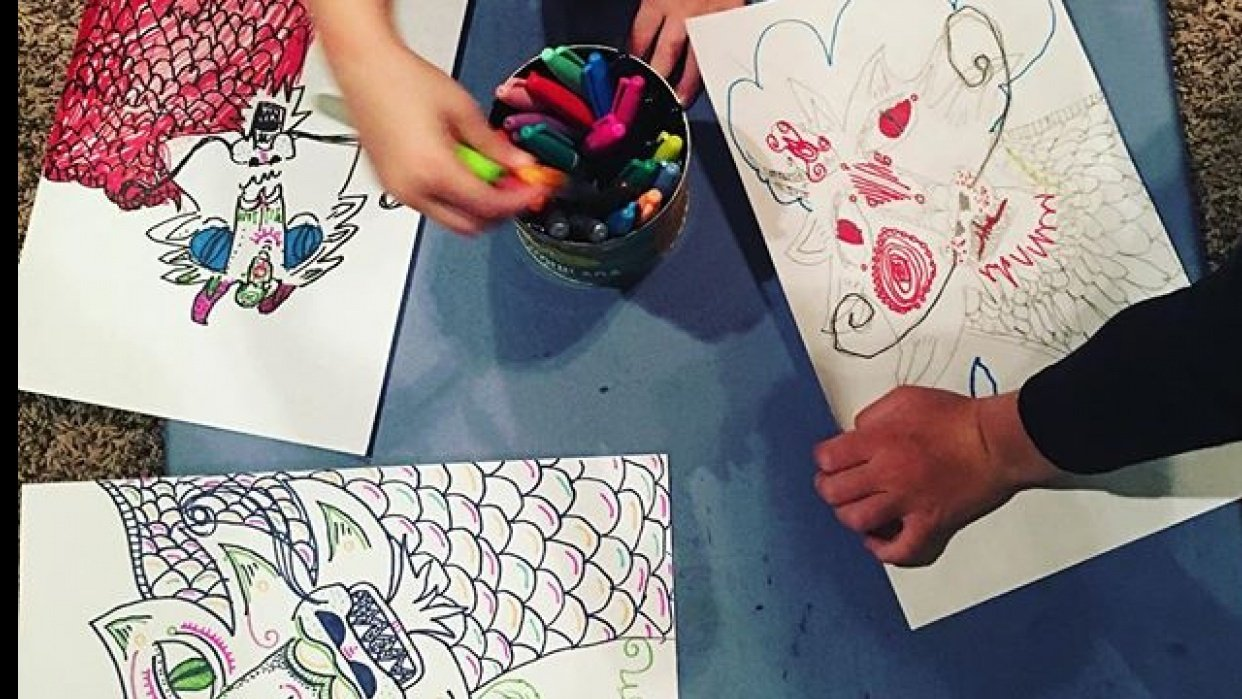 Drawing time with my kids. We loved this class! - student project