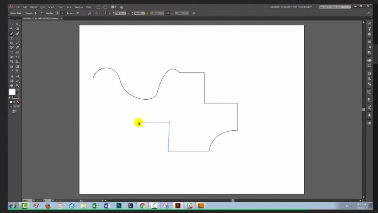 One click solution to turning a curved line into a straight line and vice versa - student project