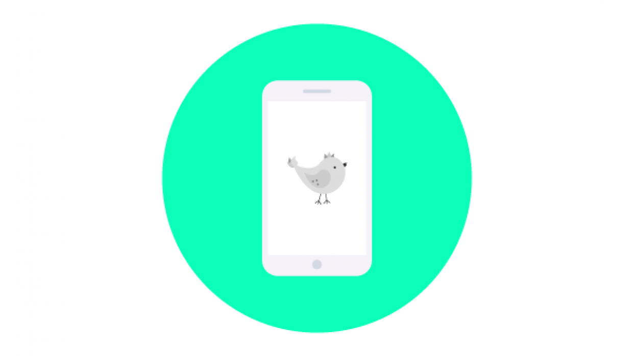 My smartphone and bird flat icon - student project