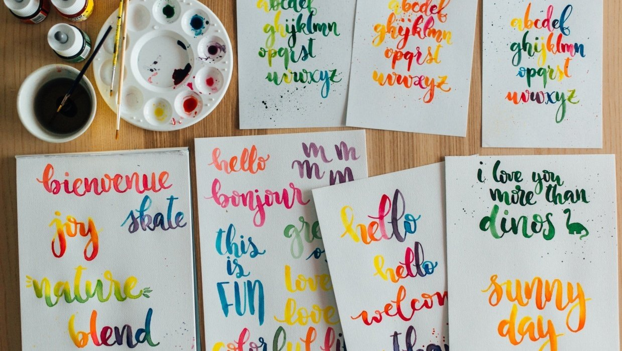 Watercolor lettering - first attempts - student project