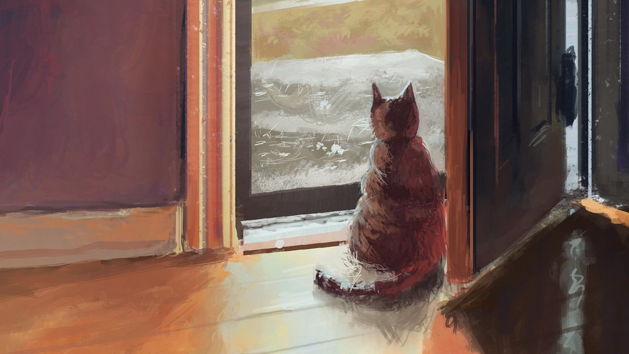 Cat Looking out Door (sketch to digital painting) - student project