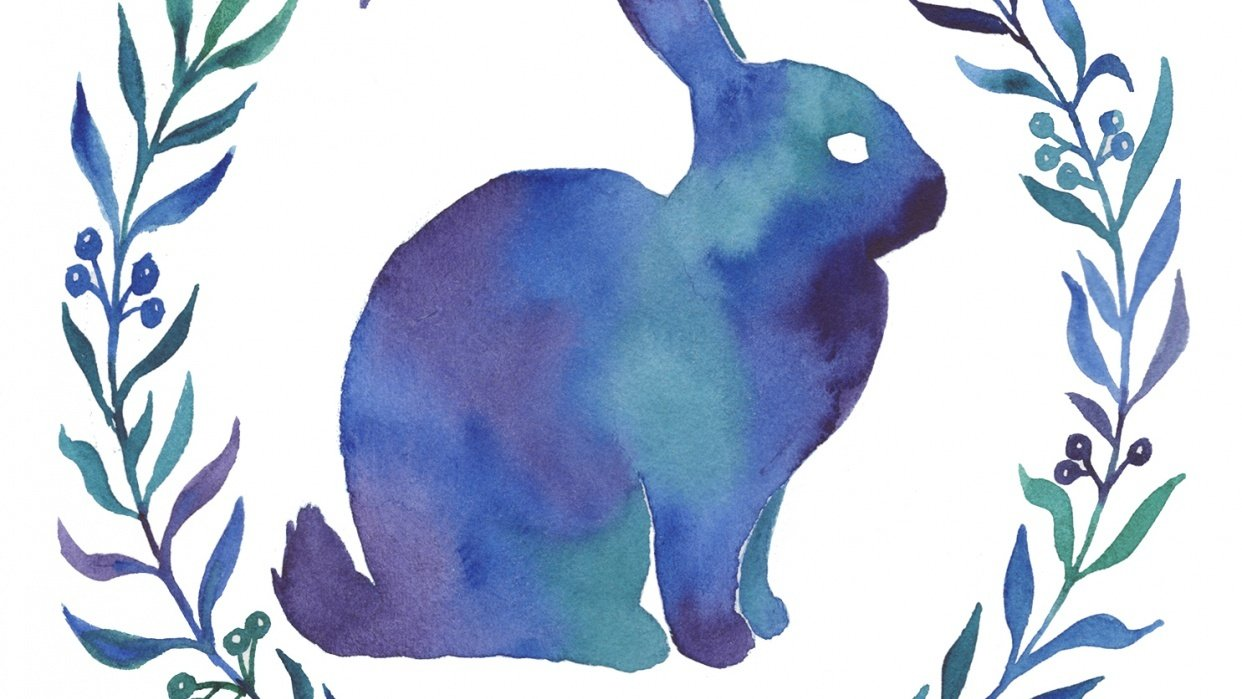 Watercolor Rabbit Silhouette - student project
