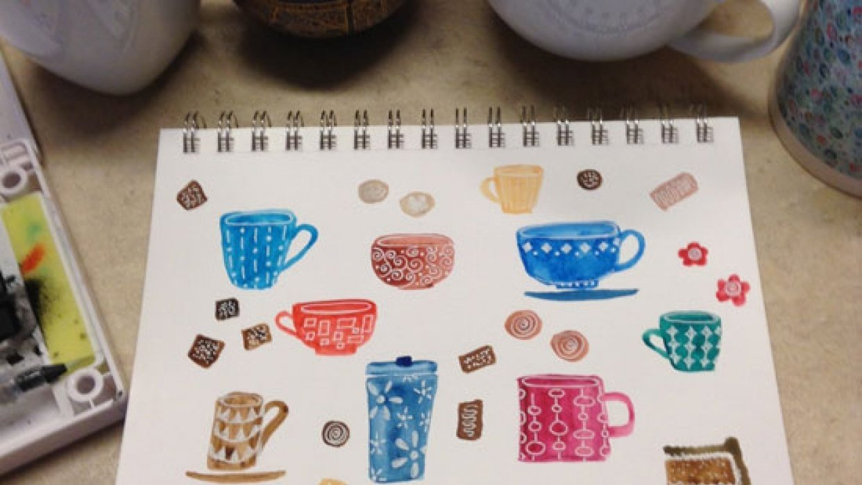 Watercolor tea cups - student project