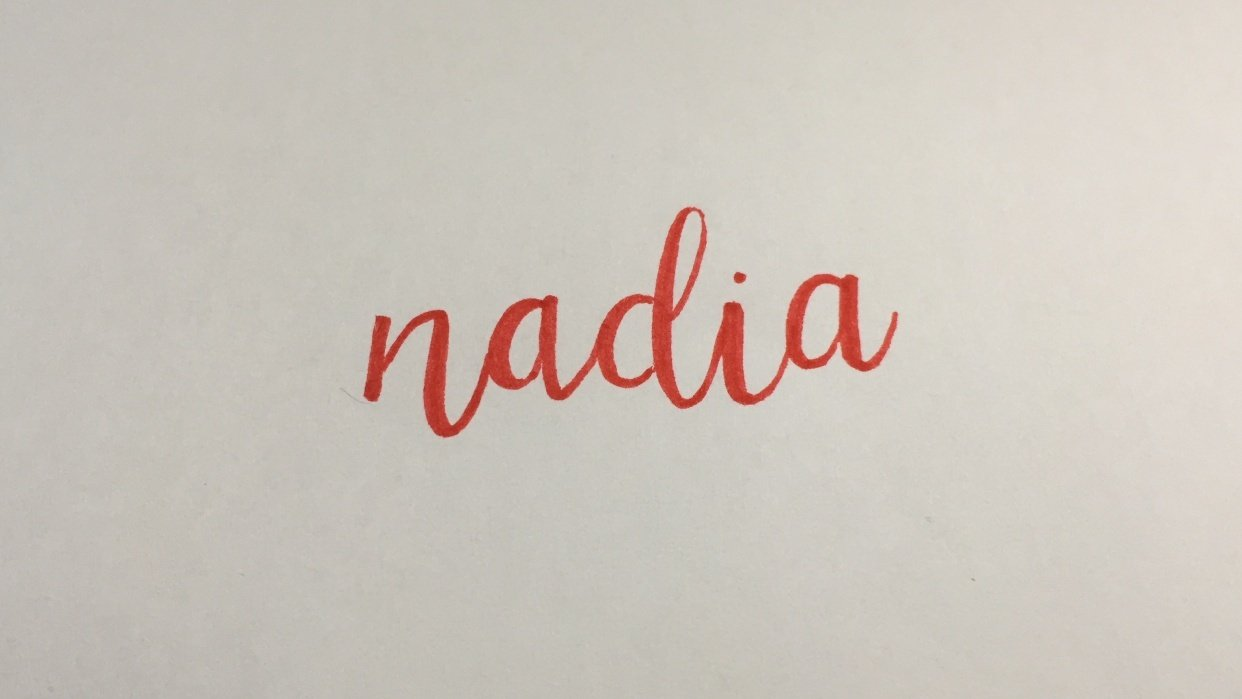 Nadia lettered - student project