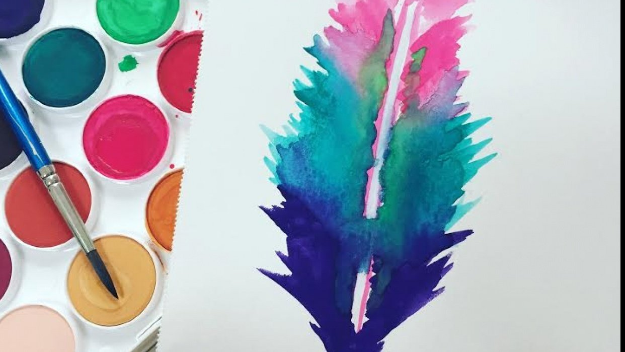 Watercolor Feather - student project