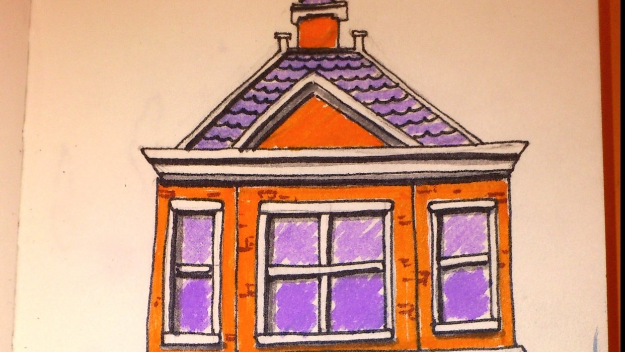 Little house. Markers. - student project