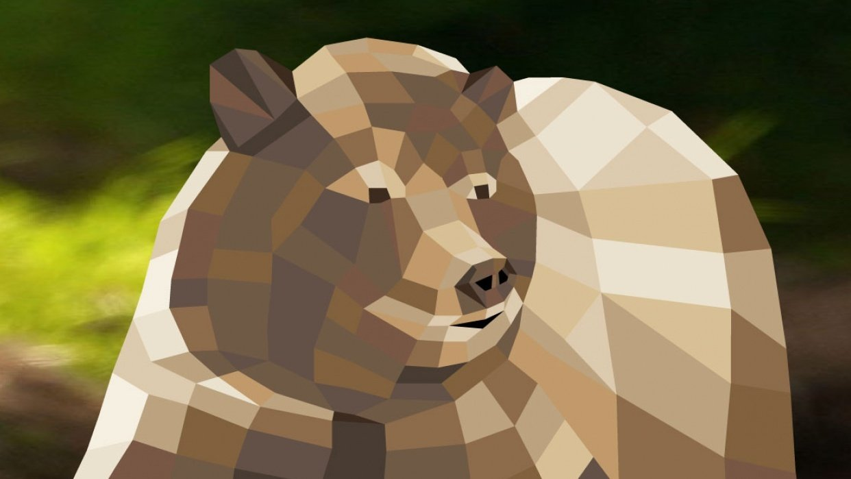 Low Poly Design - Bear - student project