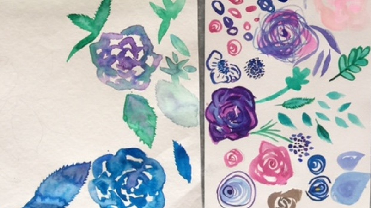 Modern Watercolour Florals - student project