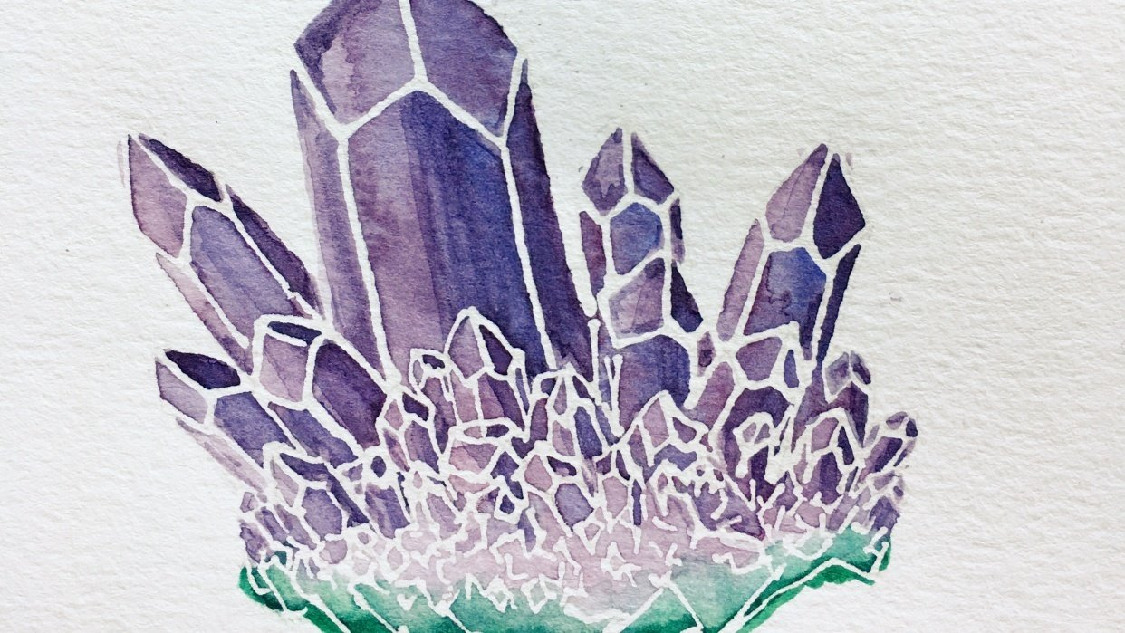 Watercolor Resist Amethyst - student project