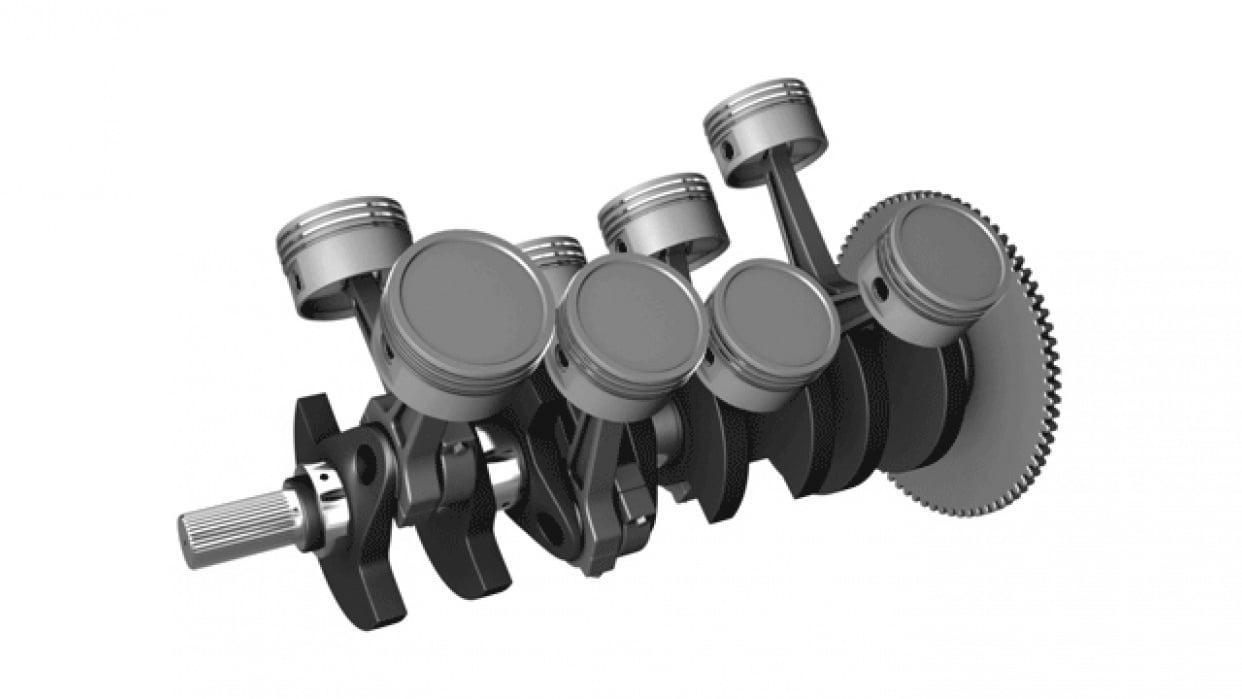 V8 Pistons and Crankshaft - student project