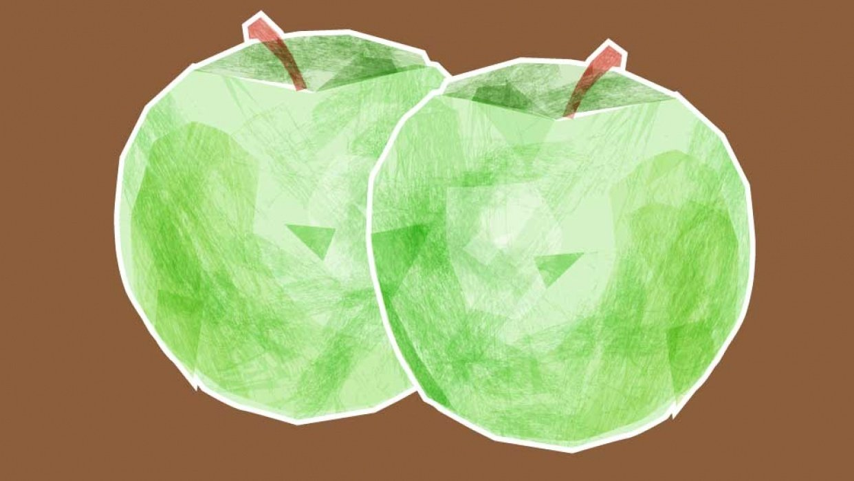 Two Tissue Paper Apples - student project