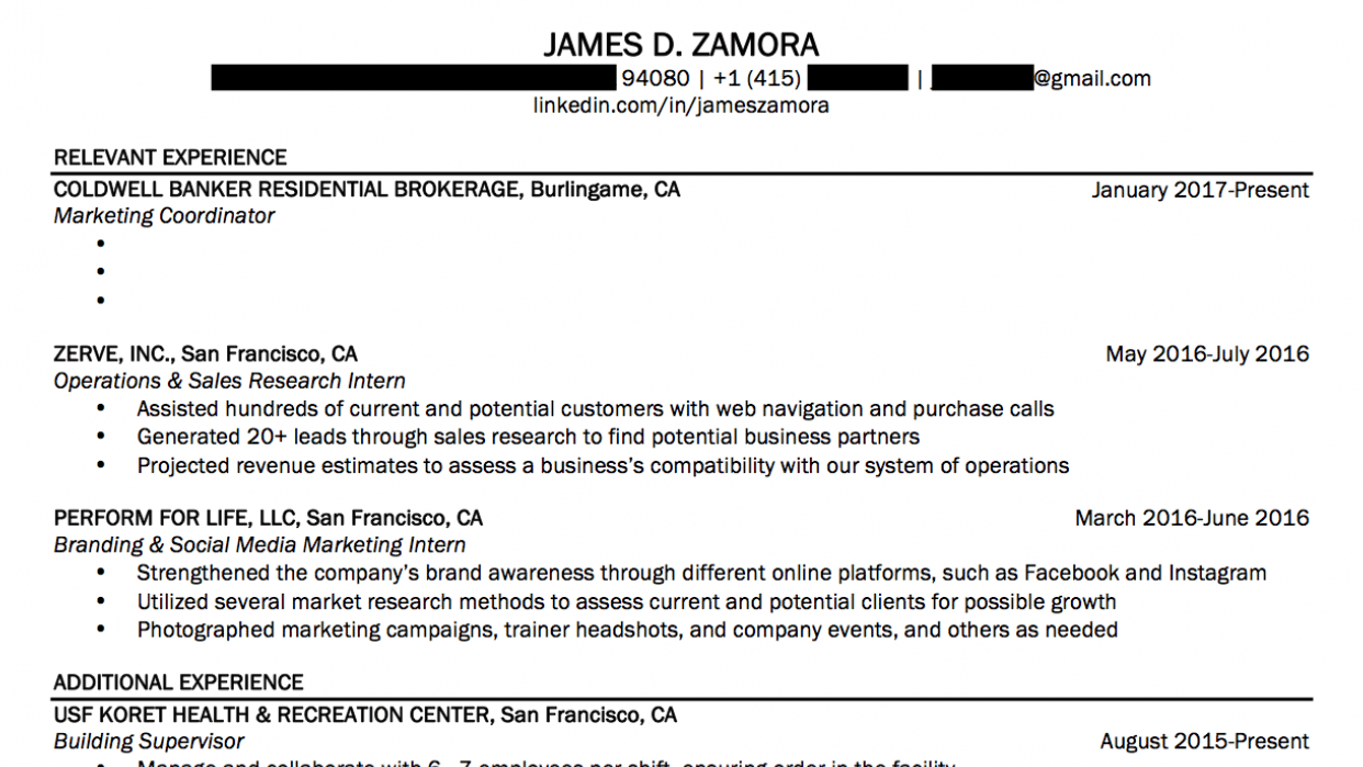 Resume Redesign - student project