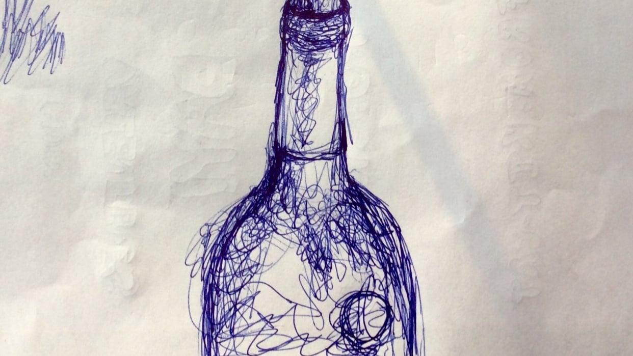 Scribble wine bottle - student project