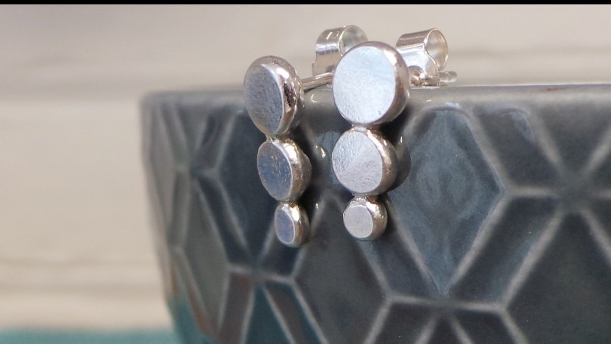 Rustic Hammered Stud Earrings - student project