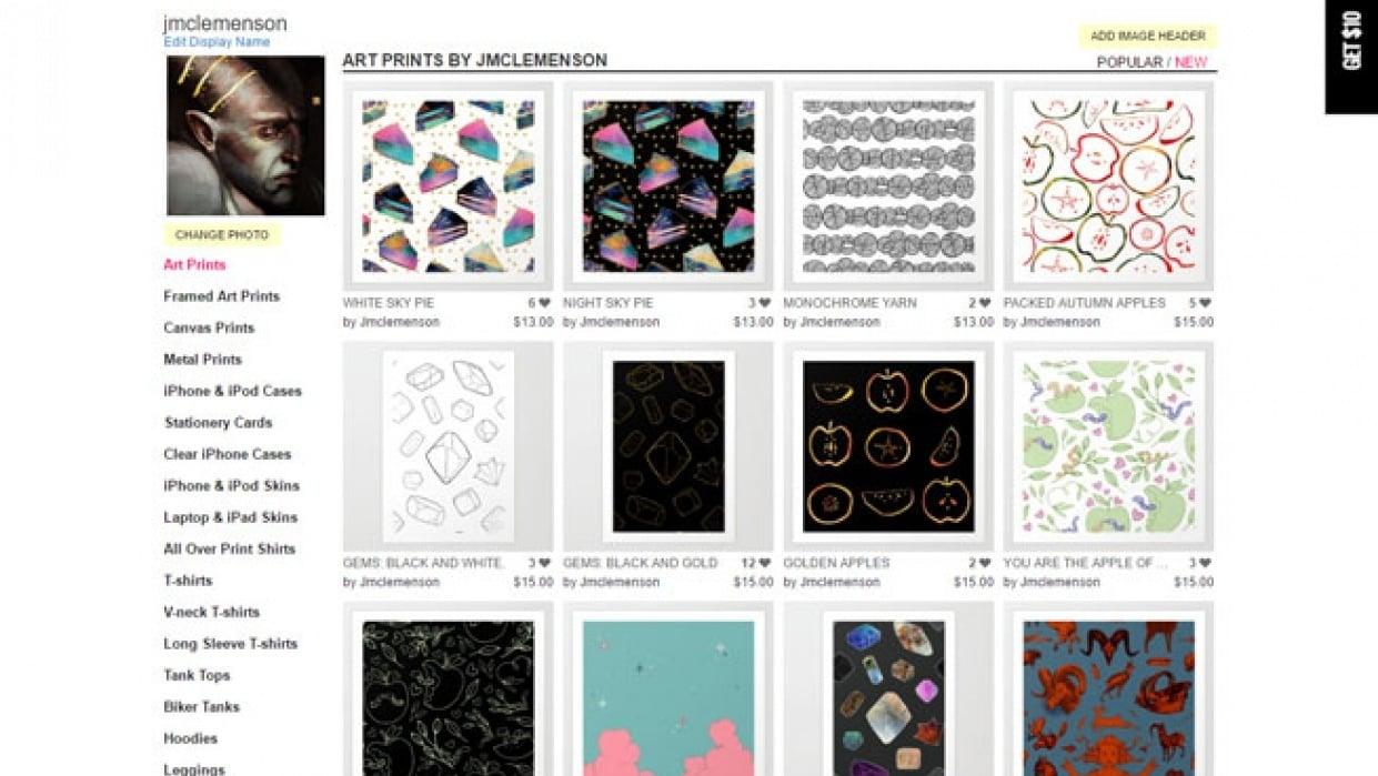 Society 6 and hopefully soon creative market? - student project