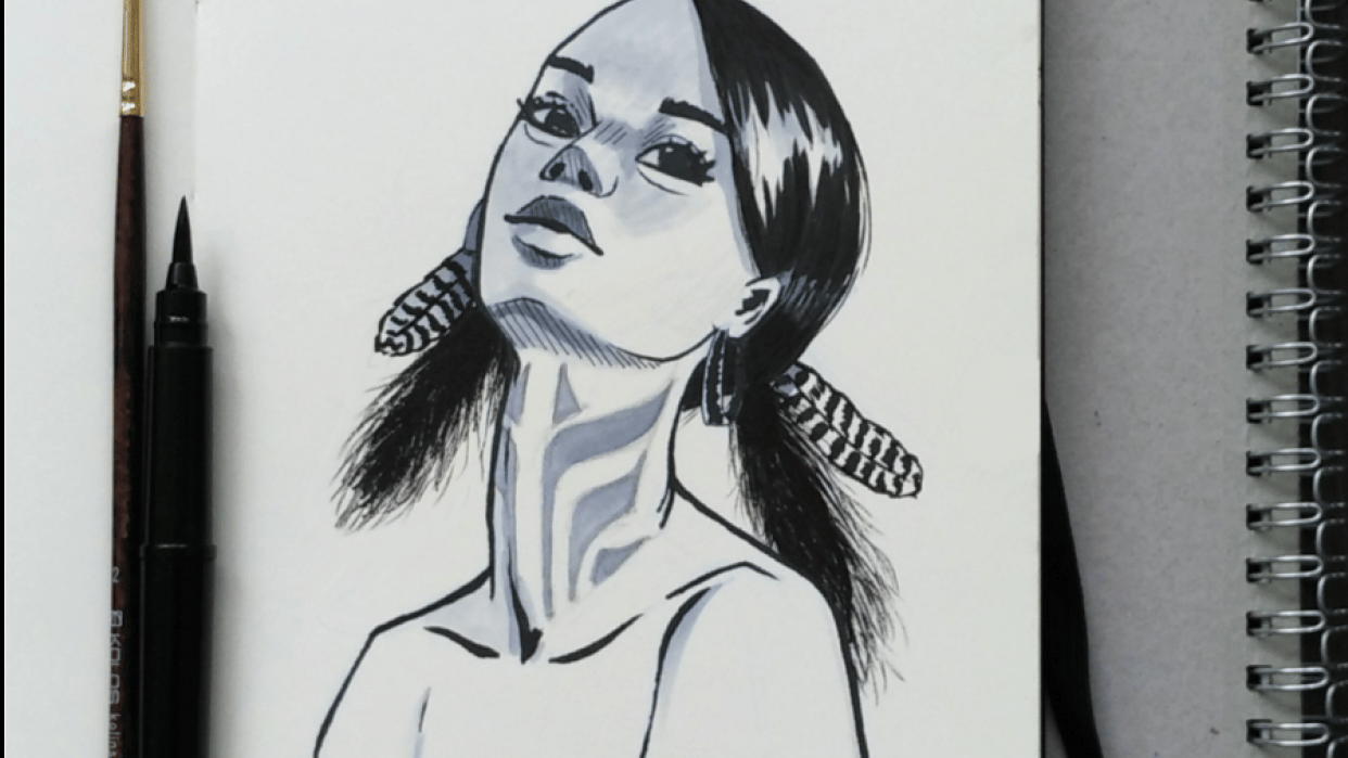 Girl portrait with ink - student project