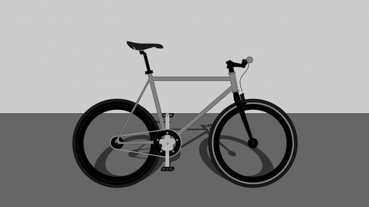 Bicycle shadow with Perspective grid tool - student project