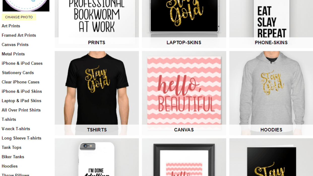Zazzle and Society 6 POD Shops - student project