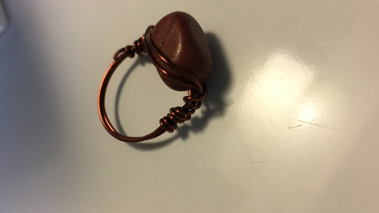 Wrapped Copper ring...with coordinated stone! - student project
