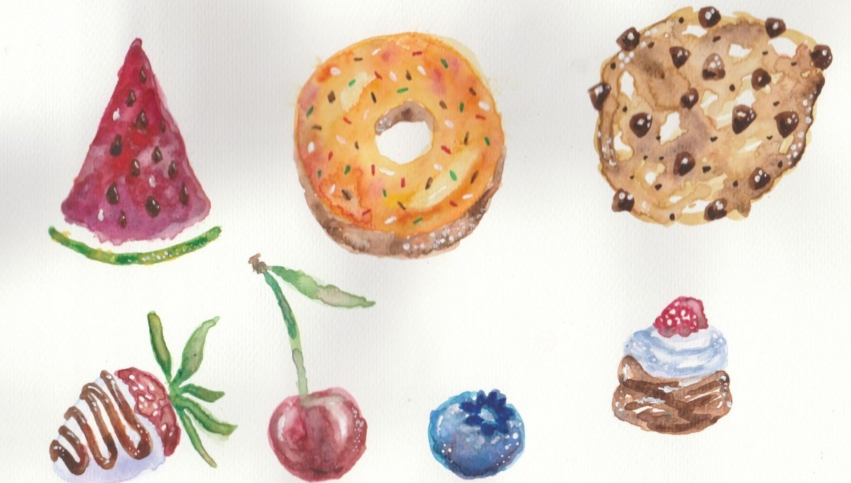 Watercolour sweets - student project