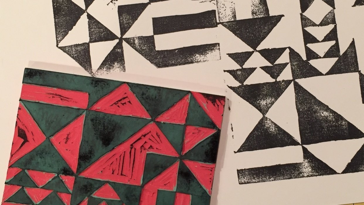 Quilt-Inspired Block Print - student project