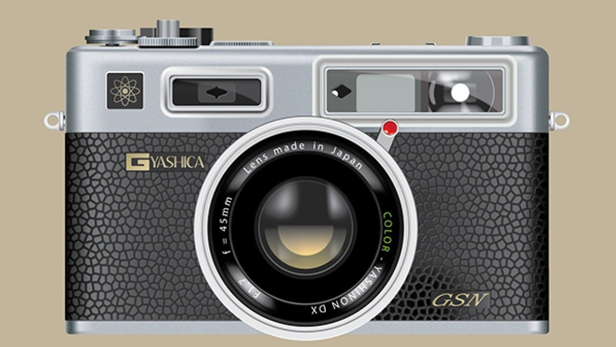Vector Yashica using Opacity mask + Mesh tool - student project