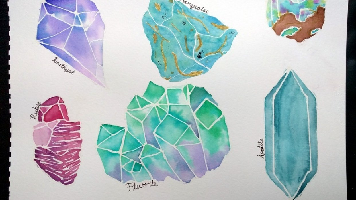 Watercolor Crystals - student project
