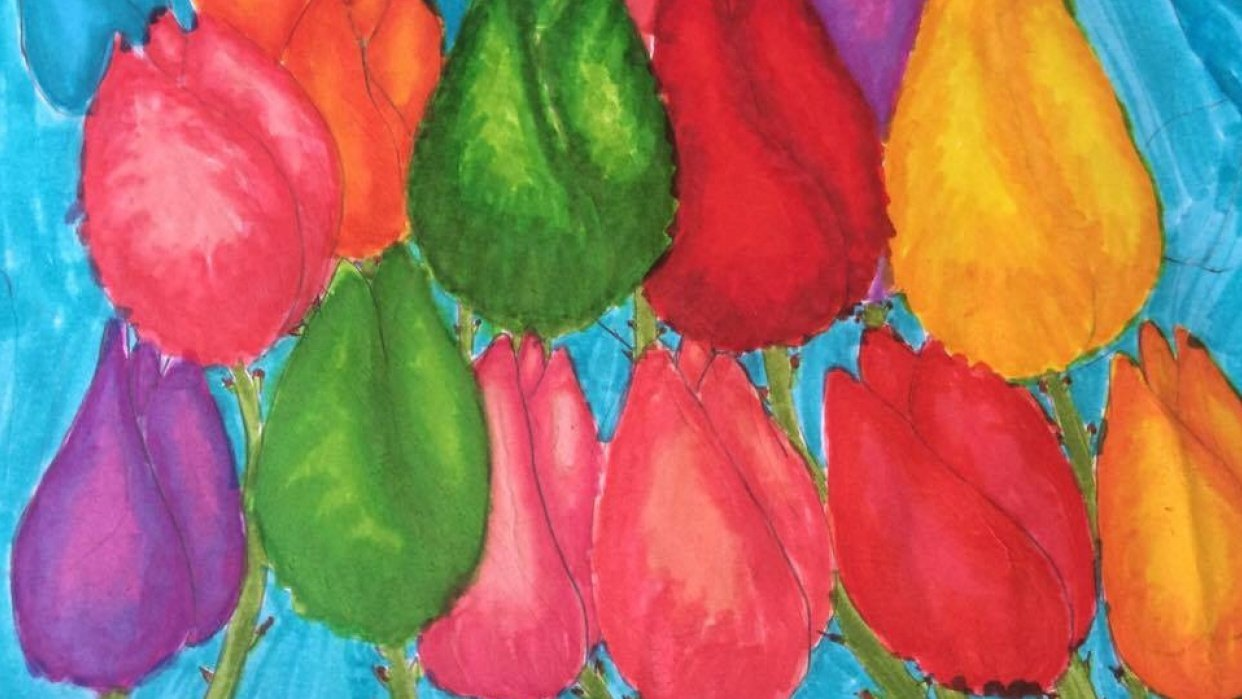 tulips by Emily, age 7 - student project