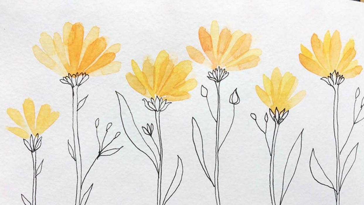 Fruit & veg ( surprise surprise) Butterflies and Yellow Floral - student project