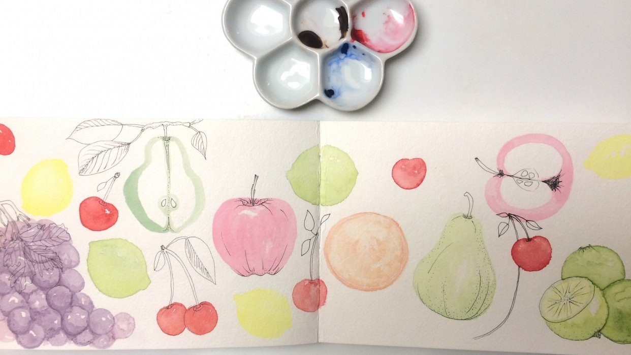 sketchbook watercolor fruit WIP - student project