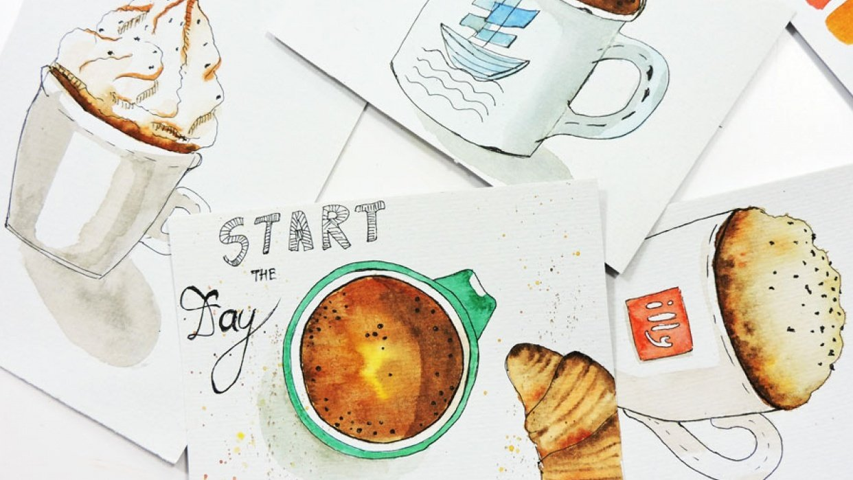 Start The Day Postcard - student project