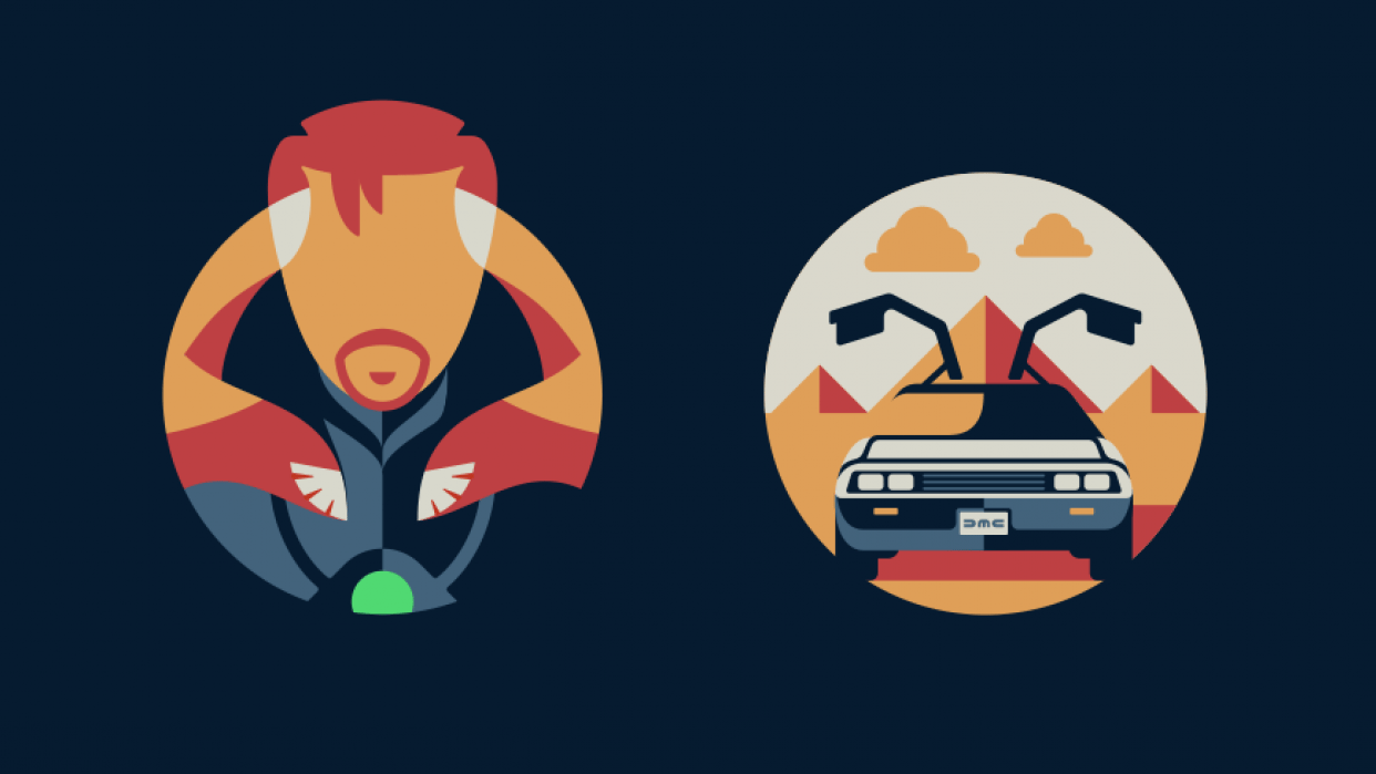 Dr. Strange, DeLorean Icons - student project