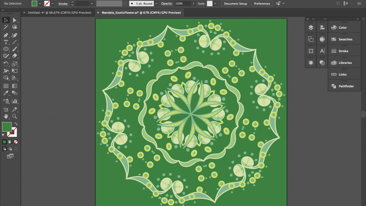 My personal Exotic Flower mandala - student project