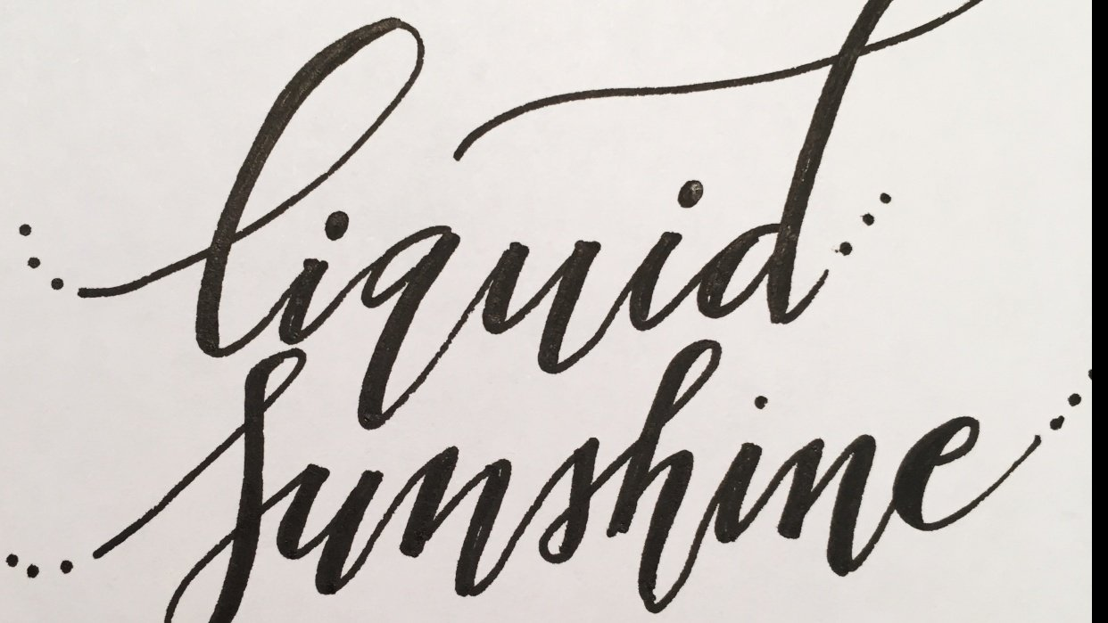 Liquid Sunshine - practicing bounce lettering - student project