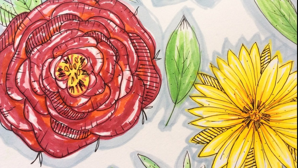 Floral sketching and marker pen - student project