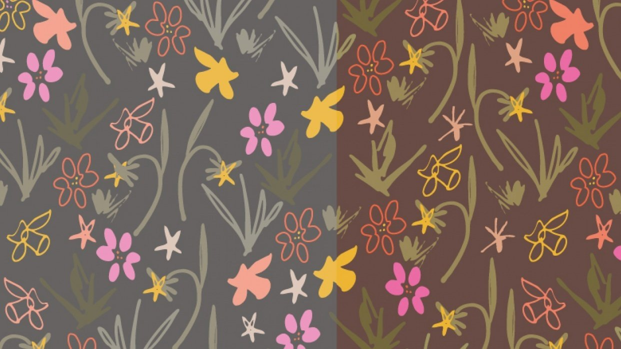Class Project : Florals  : Coloring a pattern in different ways - student project