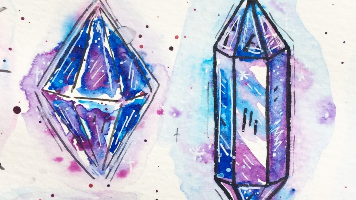 Attempting Crystals in Watercolour - student project