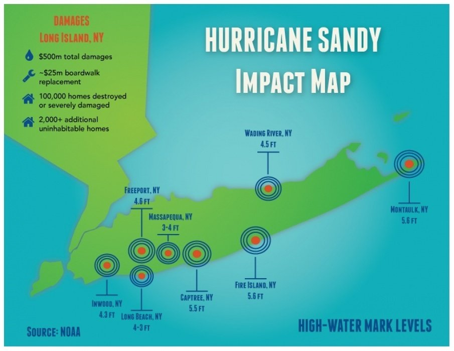 Map of places impacted by hurricane sandy - student project