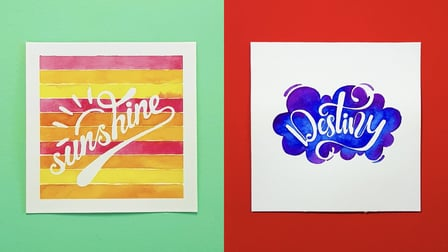 Negative Space Lettering with Watercolours