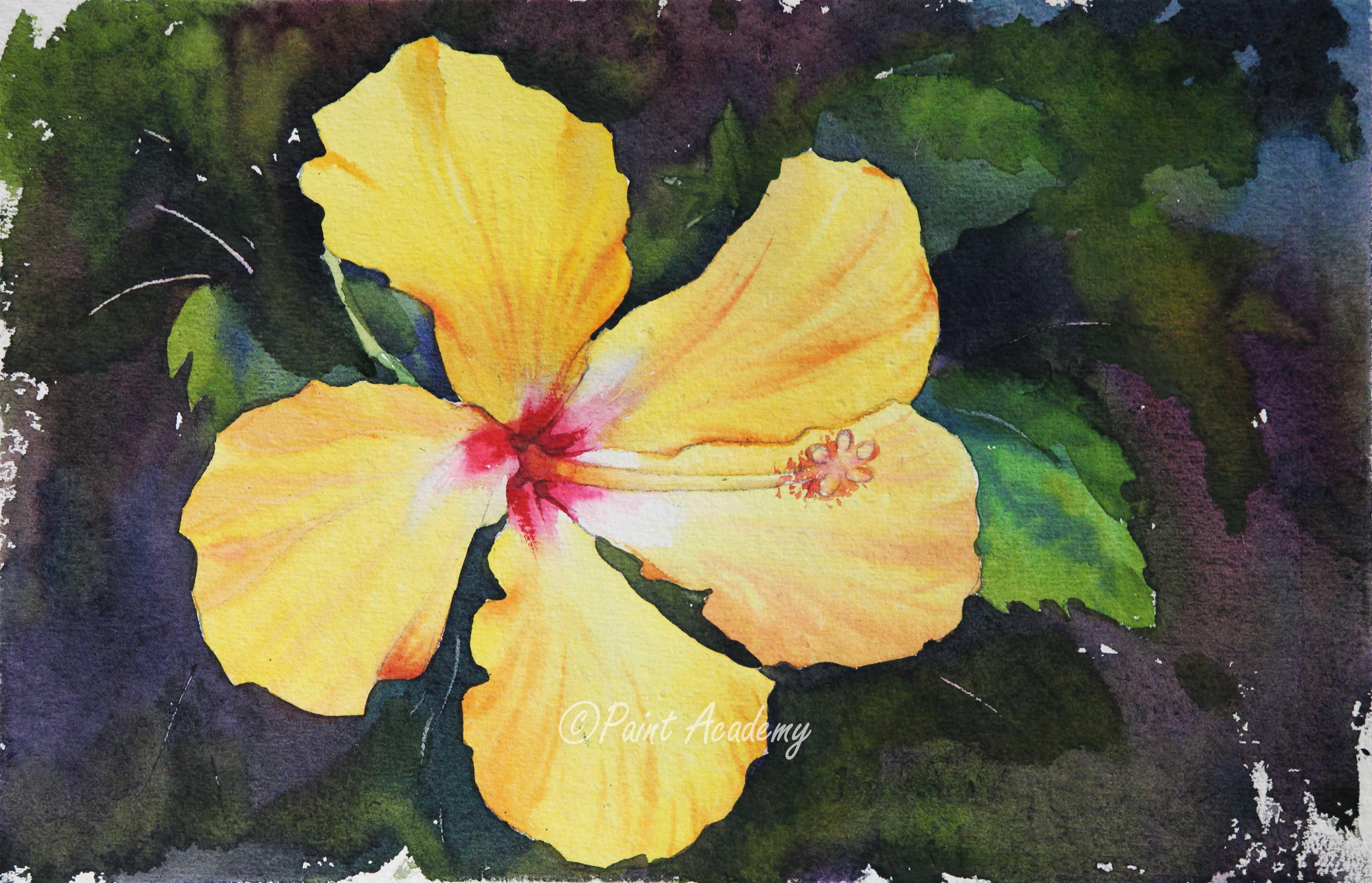 How To Paint A Hibiscus Flower In Watercolor Step By Step Tutorial