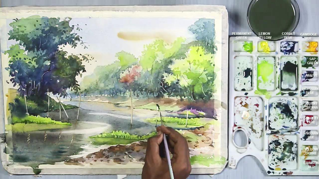 Watercolor Landscape Painting A Riverside Jungle Scene Step By