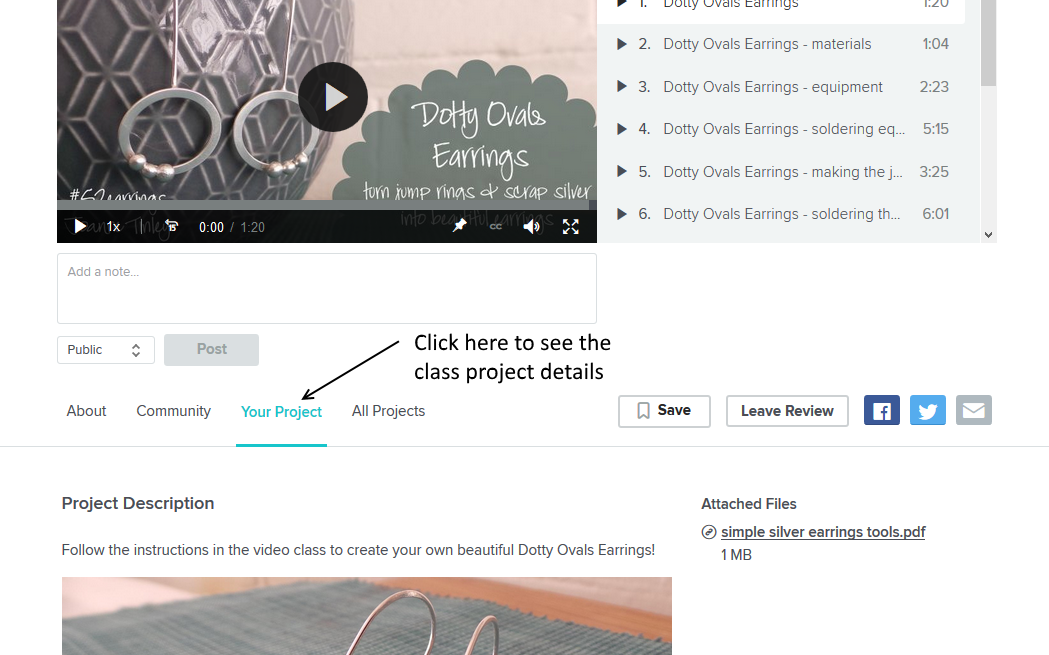 How to upload a project to Skillshare - Joanne Tinley Jewellery
