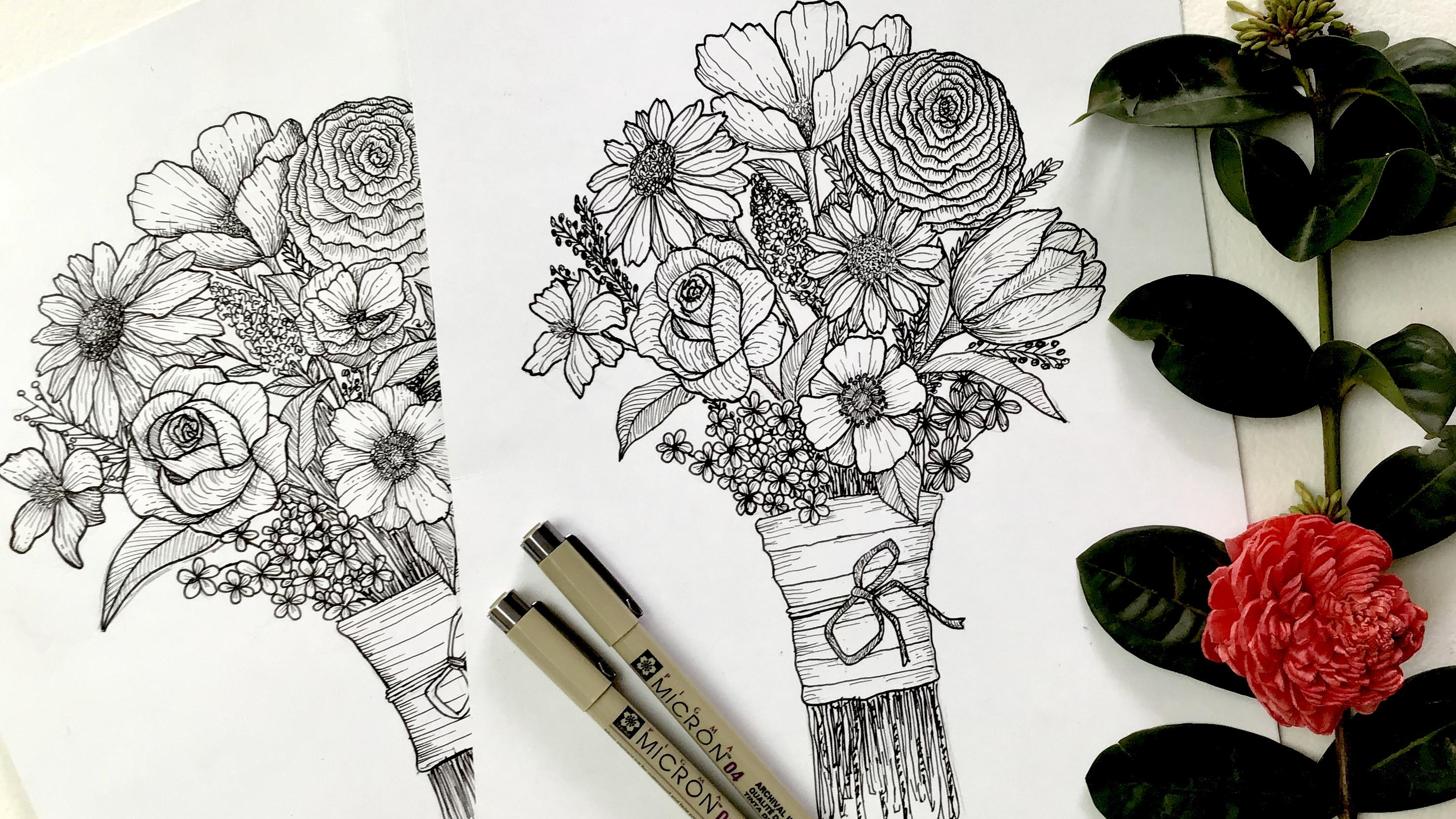 Floral Illustration Learn To Draw A Flower Bouquet Ink Pen Drawing Meenakshi Chinniah Skillshare