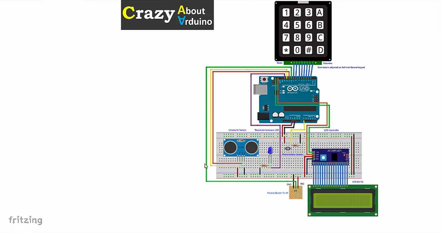 Crazy About Arduino Level 2 Learn To Use Keypad Lcd Ultrasonic Sensor Circuit In This Course We Will Build An Project Using The Platform And Several Sensors Be Used As A Central Brain Connect
