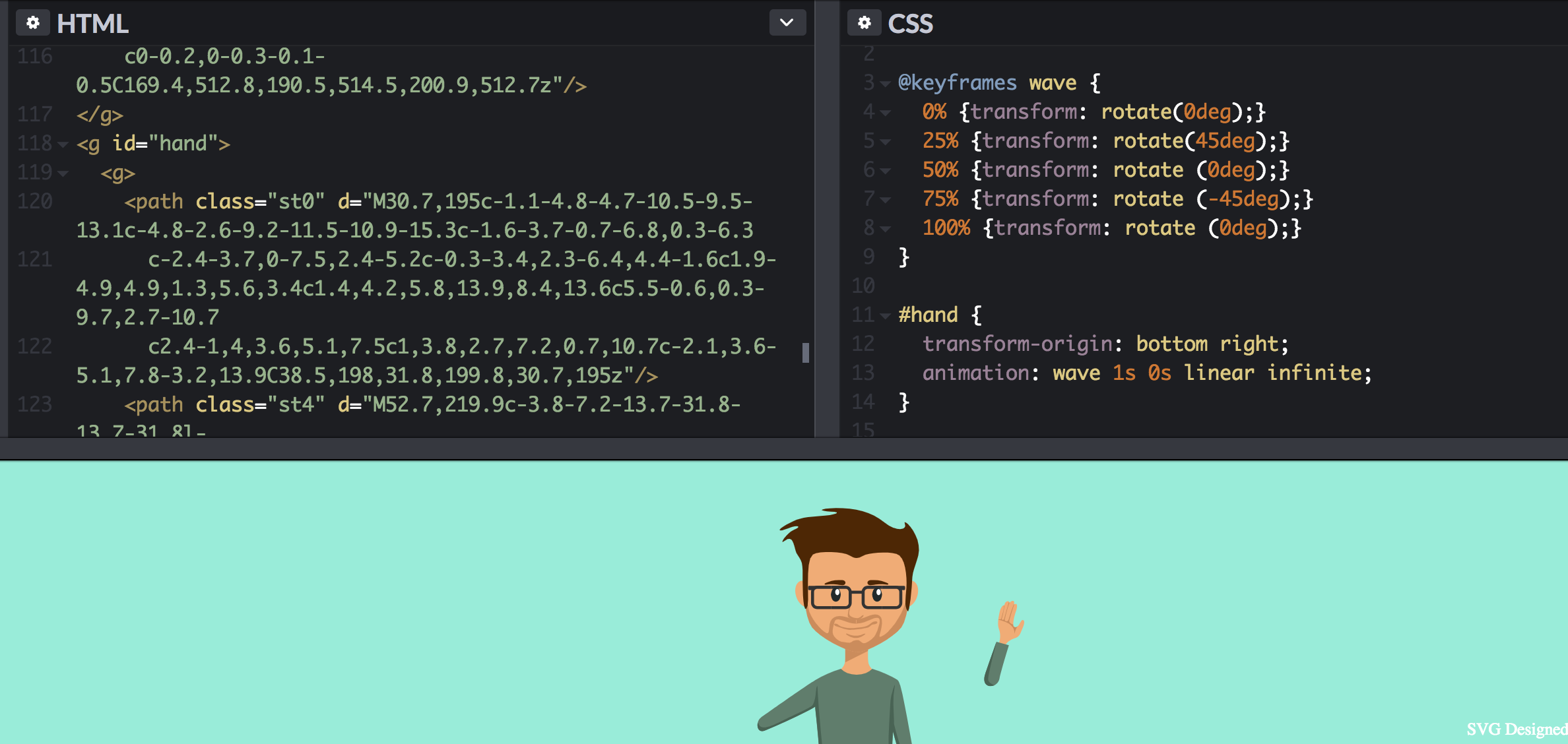 Pure CSS Animations - Animate a clock, a man waving, and a