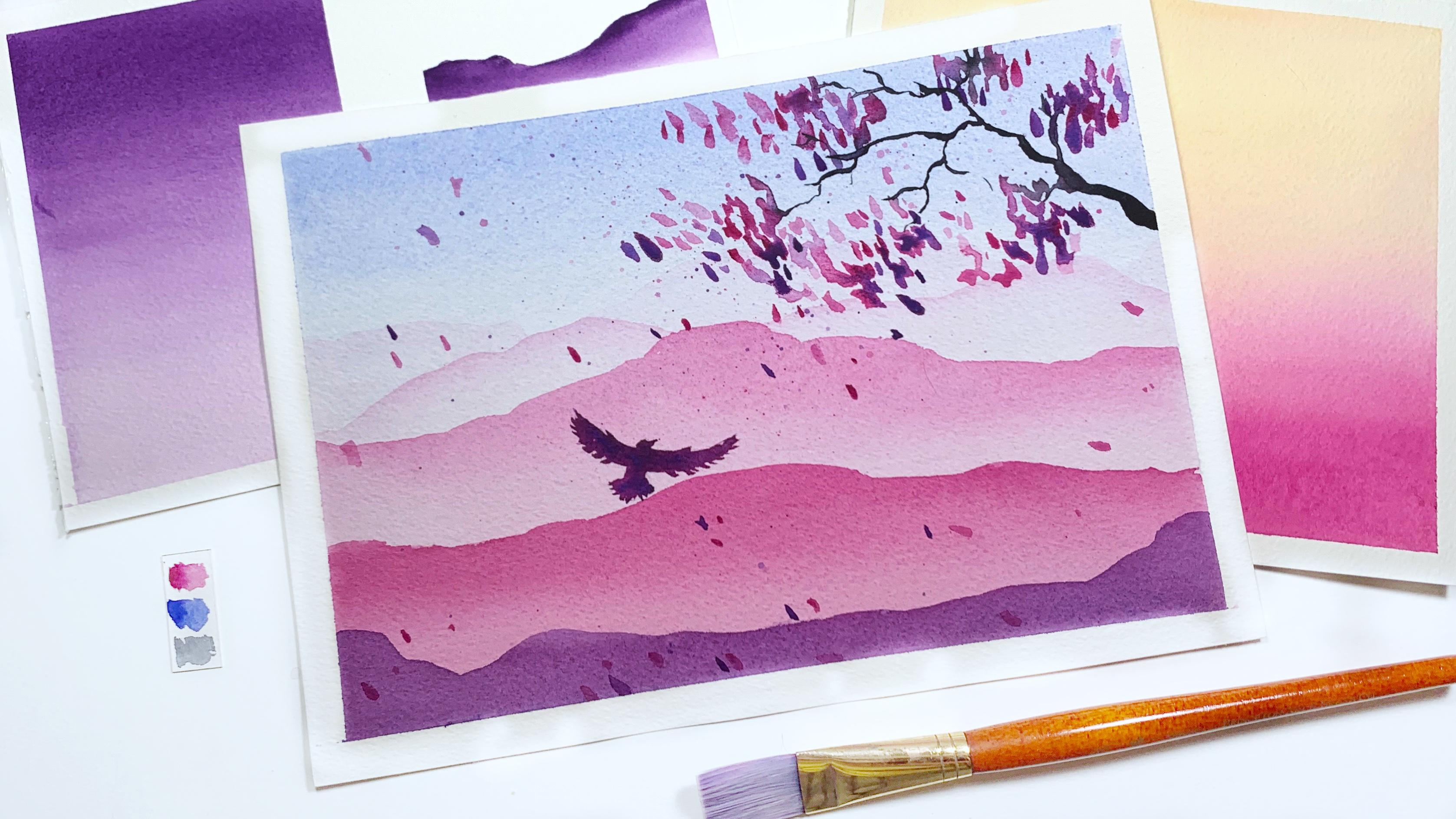 How To Watercolor Gradients Mountains Abigail Luna Skillshare